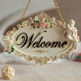 Welcome Rose Flowers Resin Door Decoration