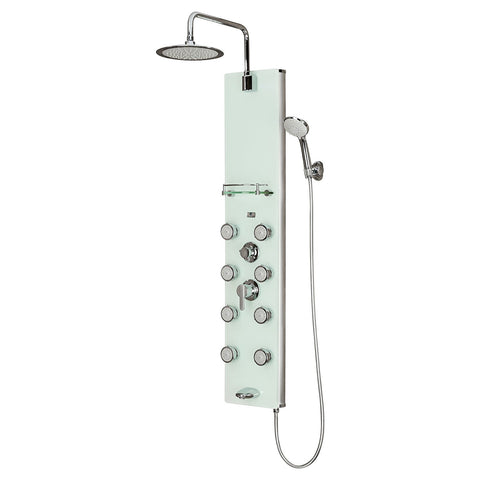 PULSE ShowerSpas Lahaina ShowerSpa 1030 White Glass Shower Panel - Cloud 9 Shower Heads