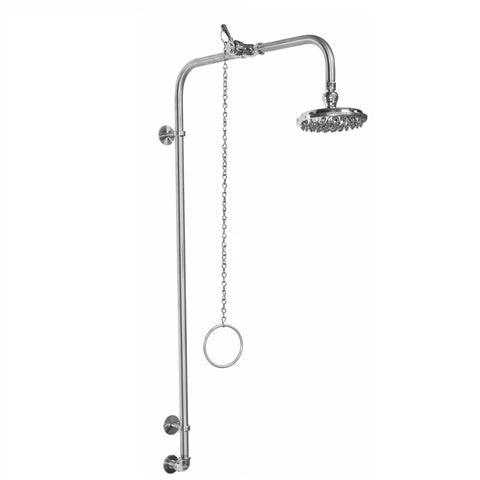 "Outdoor Shower Co. WM-442-PCV - 6"" Chrome Plated Brass Pull Chain Shower Head"