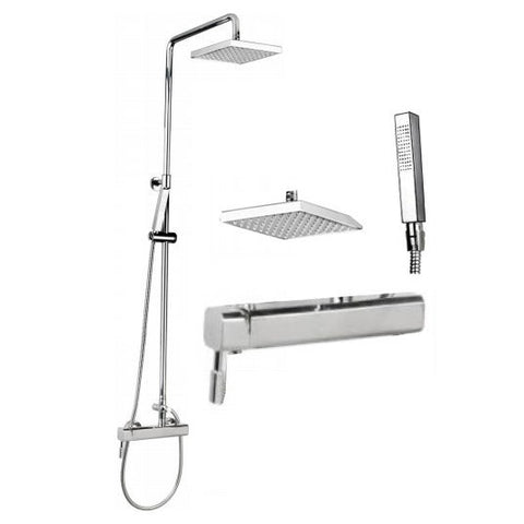 "Outdoor Shower Co CAP-118BAS-8 Harmony Cross Handle Valve Shower w/Hand Spray and 8"" Shower Head"