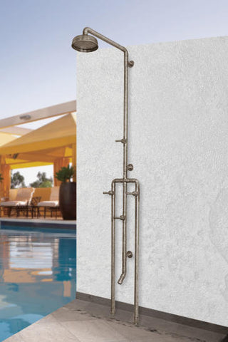 "SONOMA FORGE WB-SHW-1070 EXPOSED OUTDOOR SHOWER UNIT W/ 8"" RAIN HEAD & FOOTWASH"