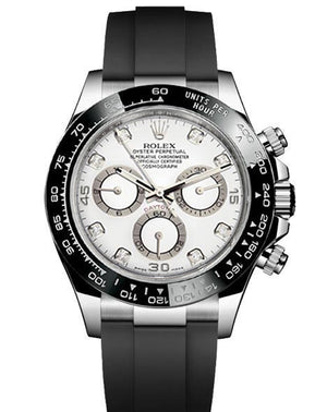 Replica Rolex Daytona Cosmograph White Dial Black Ceramic Bezel Diamond Markers - TimeLux - Replica Watches Greece