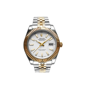 Replica Rolex Datejust 41 mm 2-Tone Gold Oyster White Dial Sticks Markers - TimeLux - Replica Watches Greece