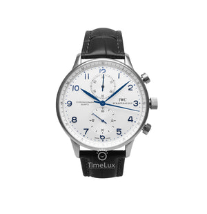 Replica IWC Portugieser Chronograph Silver Black Strap - TimeLux - Replica Watches Greece