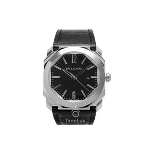 Replica Bvlgari Octo 41mm Silver Bezel Black Dial - TimeLux - Replica Watches Greece