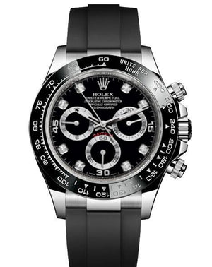 Replica Rolex Daytona Cosmograph Black White Black Ceramic Bezel Diamond Markers Baselworld 2017 - TimeLux - Replica Watches Greece