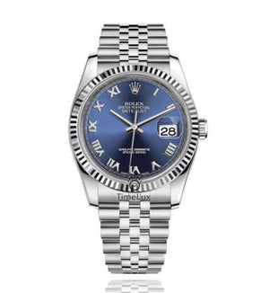 Replica Rolex Datejust 36mm Fluted Bezel Βlue Dial Roman Markers - TimeLux - Replica Watches Greece