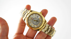 Replica Rolex Sky-Dweller Gold Roman Markers Silver Dial - TimeLux - Replica Watches Greece