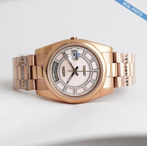 Replica Rolex Day-Date II 36mm Everose Gold Oyster Bezel Pink Carousel Dial - TimeLux - Replica Watches Greece