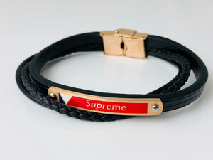 Replica Louis Vuitton Supreme Bracelet Thin Black - TimeLux - Replica Watches Greece