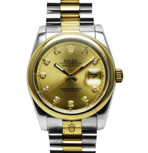 Replica Rolex Datejust 2-Tone 36mm Gold Dial Diamonds Markers - TimeLux - Replica Watches Greece