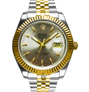 Replica Rolex Datejust 41mm 2-Tone Gold Gray Dial Stick Markers - TimeLux - Replica Watches Greece