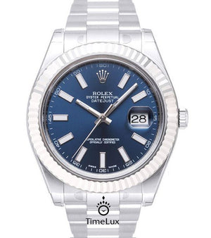 Replica Rolex Datejust 41mm SS Blue Dial Sticks Markers - TimeLux - Replica Watches Greece