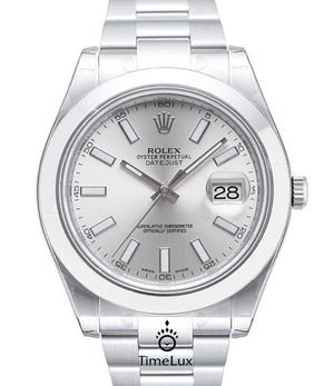 Replica Rolex Datejust 41mm SS Silver Dial Stick Markers - TimeLux - Replica Watches Greece