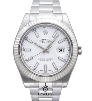 Replica Rolex Datejust 41mm SS White Dial Stick Markers - TimeLux - Replica Watches Greece
