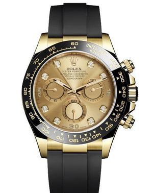 Replica Rolex Daytona Cosmograph Champagne Dial Black Ceramic Bezel Diamond Markers Baselworld 2017 - TimeLux - Replica Watches Greece