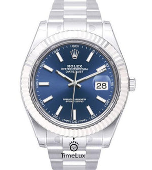 Replica Rolex Datejust 41mm SS Blue Dial Stick Markers - TimeLux - Replica Watches Greece