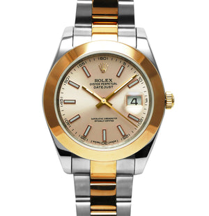 Replica Rolex Datejust 41mm 2-Tone Bronze Pearl Dial Stick Markers - TimeLux - Replica Watches Greece