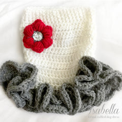 Isabella- Red Rose Frilly Crochet Knit Dog Dress