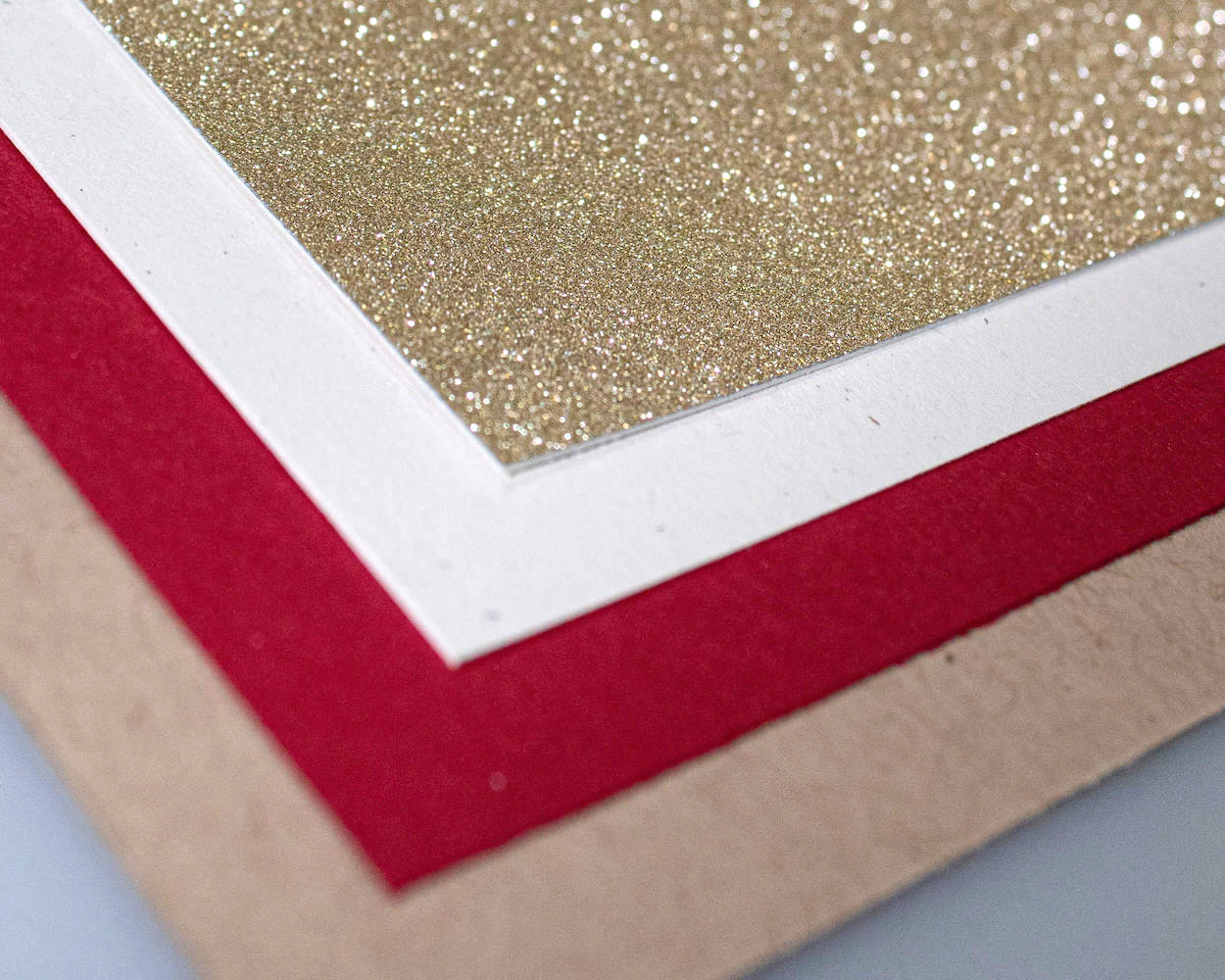 Gold Touch Glitter, True White Speckletone, Electric Red Foundations and Oatmeal Speckletone Papers from Cardstock Warehouse Paper Company