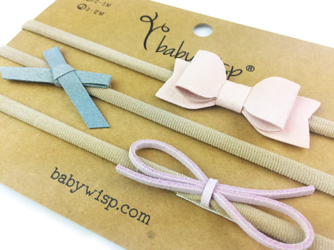 3 Faux Suede Mixed Style Baby Bows Infant Headband Gift Set - Baby Wisp