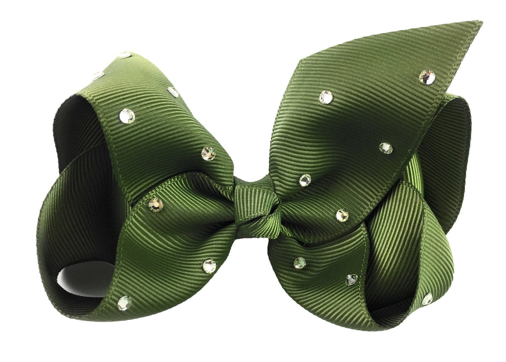 Americana Bow Pinch Clip - Sparkle - Moss Green - Baby Wisp