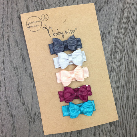 Small Snap Tuxedo Grosgrain Hair Bow Collection  - Hipster Baby - Baby Wisp