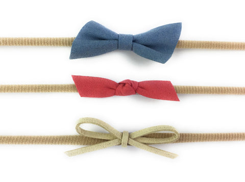 3 Faux Suede Mixed Bows - Infant Headband Gift Set - Baby Wisp