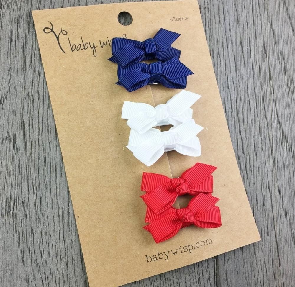 6 Small Snap Chelsea Boutique Bows Gift Set - Red, White and Blue - Baby Wisp