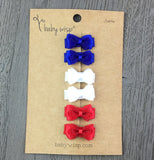 6 Small Snap Fancy Bows Gift Set - Red, White and Blue - Baby Wisp