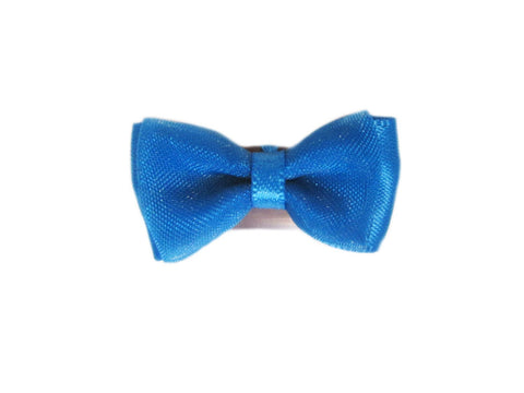 Mini Latch Tuxedo Fancy Hair Bow - Dress Blue - Baby Wisp