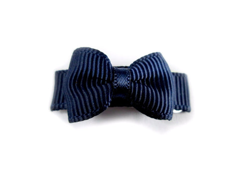 Grosgrain Tuxedo Bow Snap Clip - Single Hair Bow - Navy - Baby Wisp