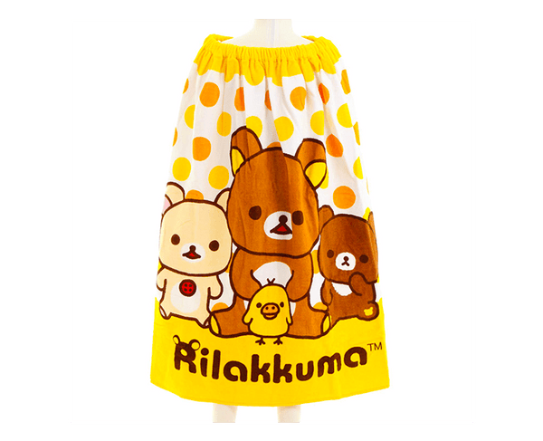 Rilakkuma Kids Towel Skirt (Yellow Polka Dots)