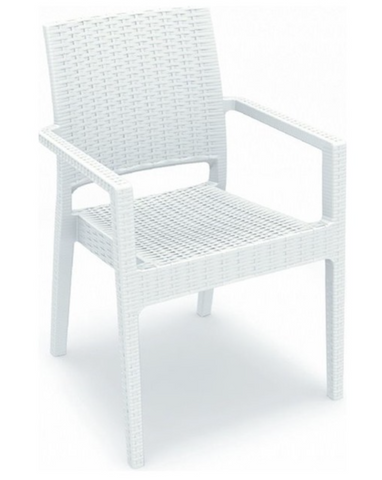 Compamia Ibiza Resin Wickerlook Dining Arm Chair White ISP810-WH - RestaurantFurniturePlus + Chairs, Tables and Outdoor - 1