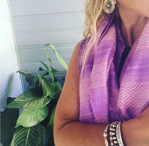 100% COTTON  TRADITIONAL KAREN SCARF-LILAC