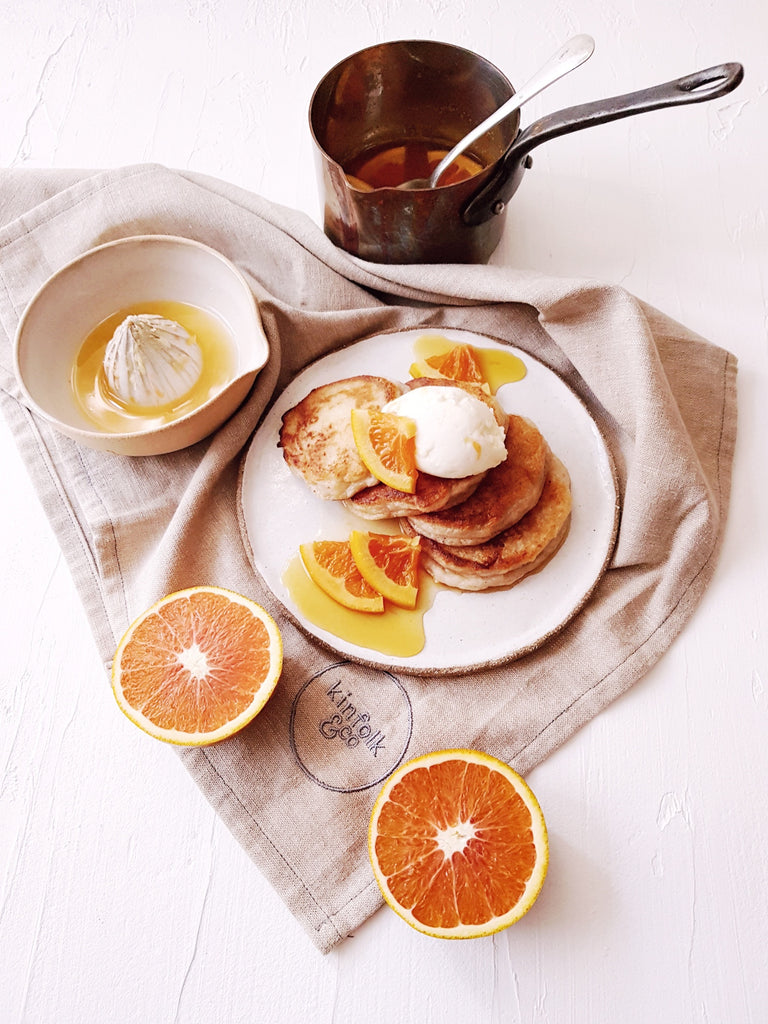 Kombucha Pikelets with Coconut Labneh and Citrus & Orange Blossom Syrup