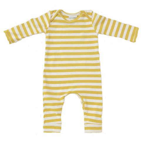 Romper Long Sleeve Mustard and white stripe