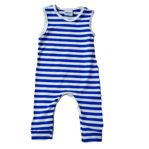Royal Blue and white stripe Tank Romper