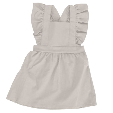 Pinafore Suspender Skirt Gray Linen