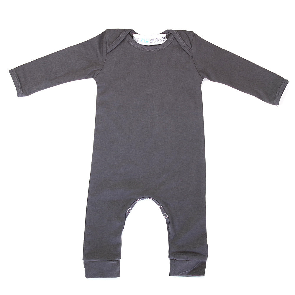 Romper Long Sleeve Charcoal Gray