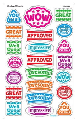 Praise Words - Supershapes stickers large