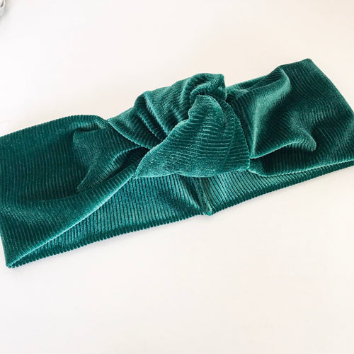 Ribbed Emerald Velvet TopKnot Headband