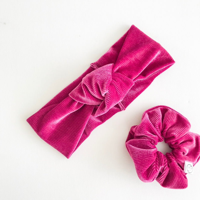 Ribbed Berry Velvet TopKnot Headband