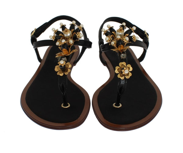DOLCE & GABBANA Shoes Sandal Leather Crystal Flip Flops EU39 / US8.5