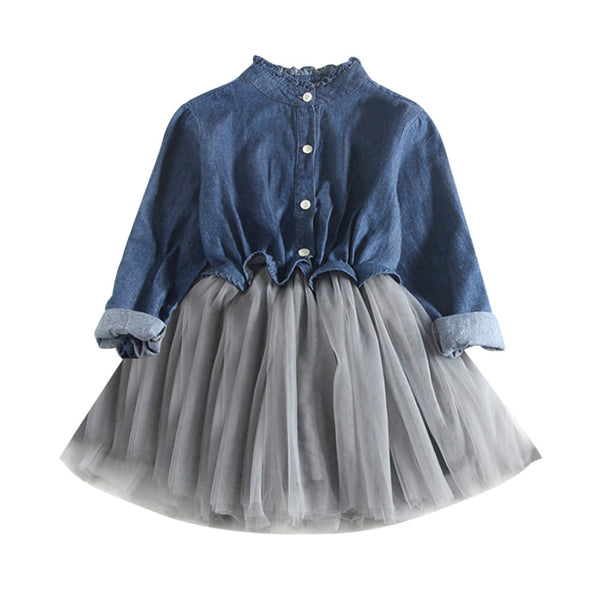 Toddler Baby Girls Denim Dress Long Sleeve Princess Tutu Dress Cowboy Clothes