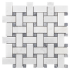 "Pearl White Basketweave with 5/8"" Pacific Gray Dot Mosaic"