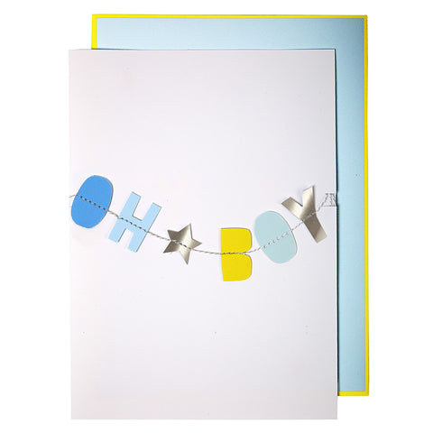New Baby Card |  Oh Boy | Hanging Garland