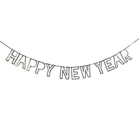 Silver Glitter Happy New Year Garland