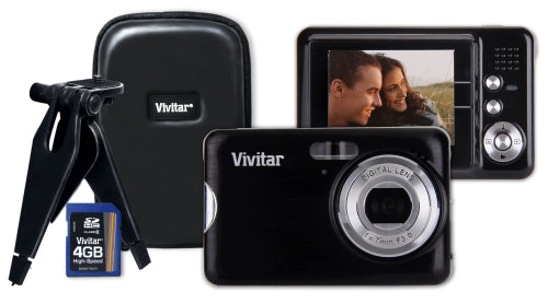 Vivitar VX029 10.1MP Digital Camera Bundle with Class 6 4GB SD card Compact Camera Case and Mini Tripod …