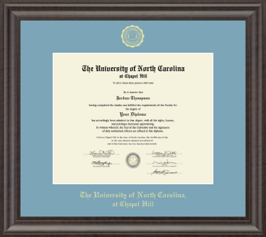 University of North Carolina Church Hill Classics Gold Embossed Diploma Frame in Acadia with Sky Blue Mat